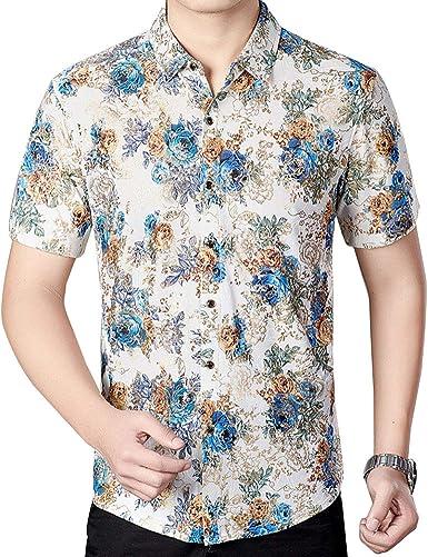 Camisa De Flores Manga Corta Casual para Hombre: Amazon.es: Ropa y accesorios