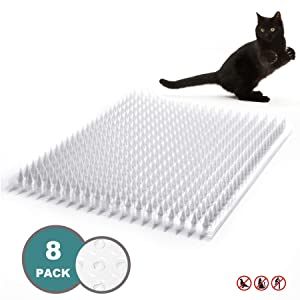 Zipcase Cat Repellent/Deterrent Outdoor Scat Mat for Cats, Dogs, Pests Covers 12 Sq.ft, 16 x 13 Inches, 8 Pack