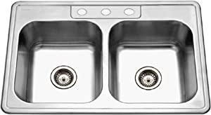 Houzer 3322-8BS3-1 Glowtone Series Topmount Stainless Steel 3-hole 50/50 Double Bowl Kitchen Sink, 8-Inch Deep