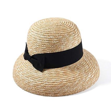 Charmylo Chapeau de Paille pour Femme /Ét/é Plage Large Bord Chapeau de Soleil Protection UV Chapeau Safari 55-58 cm