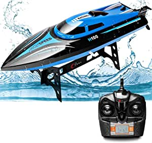 25km/h High Speed RC Boat Cool Blue Speedboat Professional 2.4GHz Remote Control Rechargeable Electric Toy Boat 4CH RC Speedboat Best Gift for Kids & Adults (Size : 2 battery)