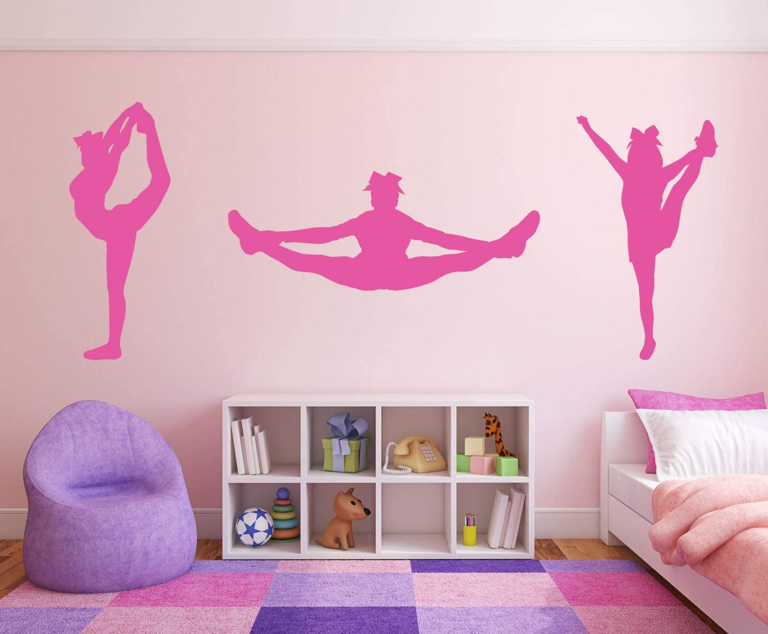 A Design World Vinyl decacls Cheerleader Wall Decal Room Wall Decor Vinyl Decal Sticker - Toe Touch Scorpion Heal Stretch Cheer Package