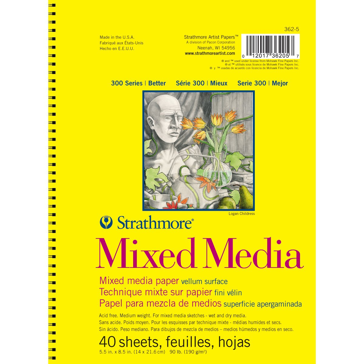 Strathmore 90 lb 40 Sheets Mixed Media Vellum Paper Pad, 5.5 x 8.5 5.5 x 8.5 Pro-Art 362-5