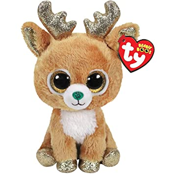 Amazon.com  Glitzy Beanie Boo Reindeer Plush 3in x 6in Plush Toy ... 52dc29c3fbff