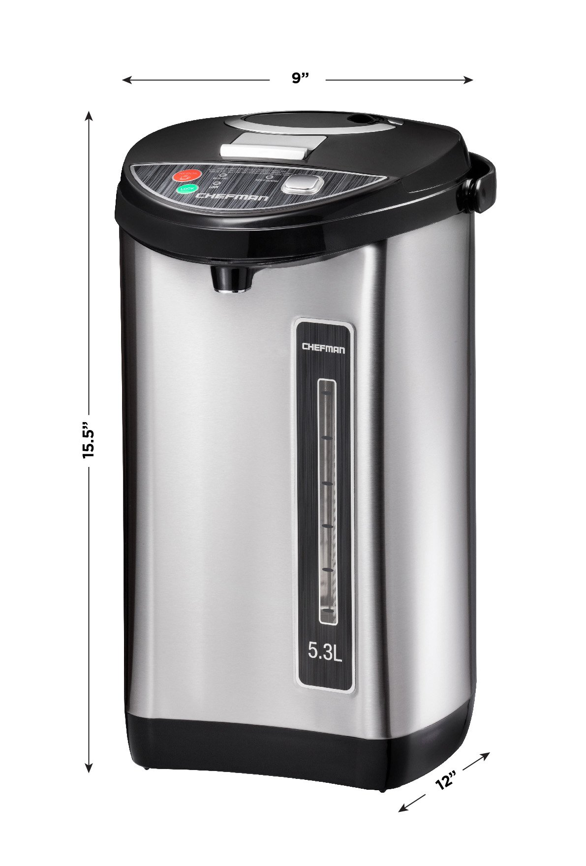 Chefman Instant Electric Hot Water Pot, Safety Lock To Prevent Spillage, 3 Dispense Buttons, Auto Shutoff, Easy View Water Level, Hot Water Urn, 700W & 120V, 5.3 Liters, Stainless Steel by Chefman (Image #5)
