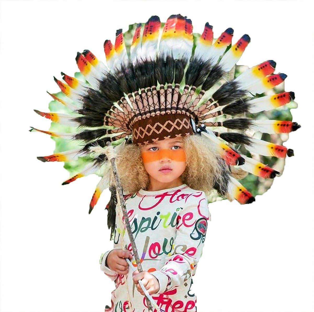 KARMABCN N21 Sombrero Indio 5-8 años Niño/Niña: Penacho con Pluma Real para 21 Pulgadas o 53,4 cm Amarillo y Rojo