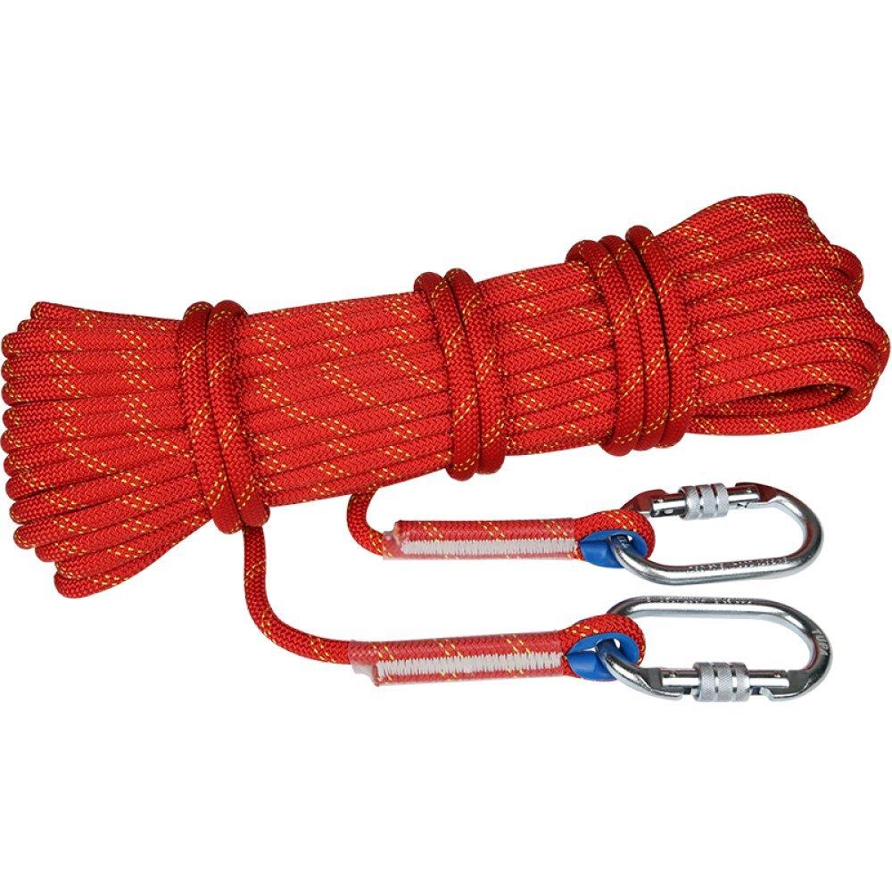 Rouge ANHPI Corde d'escalade Résistance à l'abrasion Corde Statique Extérieur Alpinisme Rapid Drop Rope Equipment,rouge-20m14mm 10m12mm