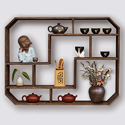 Bookshelf Vintage Solid Wood Wall Racks Bedroom Living Room Hanging Decorative Flower