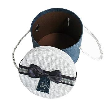 Schokoladenbrauner Innenraum und Graues Dekoratives Schleife Graue Schachtel mit Strukturiertem Wei/ßem Deckel Emartbuy Set von 3 Starrer Luxus Zylinder Pr/äsentation Geschenkbox