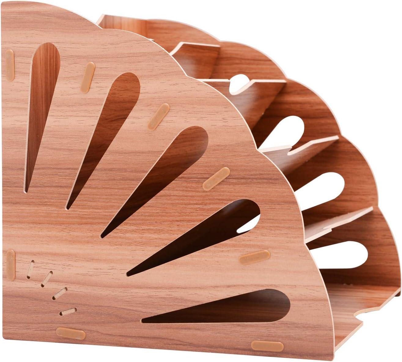 File Sorter Wood Organizer 5 Compartment, Buckle Design Desktop Fan-Shaped Mail Letter Document Magazine File Folder Holder Wood File Assembly Divider DIY Office Tabletop Basket Storage Box, Brown