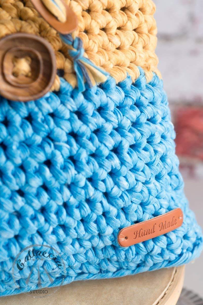 Gallaecia Studio Mochila Bolso casual tejida crochet para mujer sostenible medio ambiente: Amazon.es: Handmade