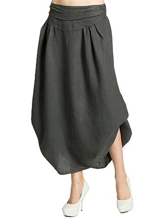 fd075e8780398 CASPAR RO016 leichter langer Damen Leinenrock / Sommerrock / Maxirock zum  seitlichen Hochbinden