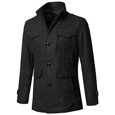 SBW Men's Classic Outwear Button Down Side Pockets Coat at Men's Clothing store