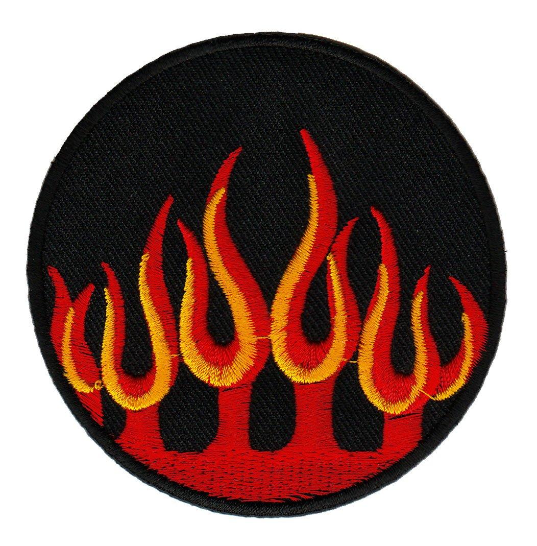 Aufn/äher B/ügelbild Aufb/ügler Iron on Patches Applikation Flammen Feuer Biker