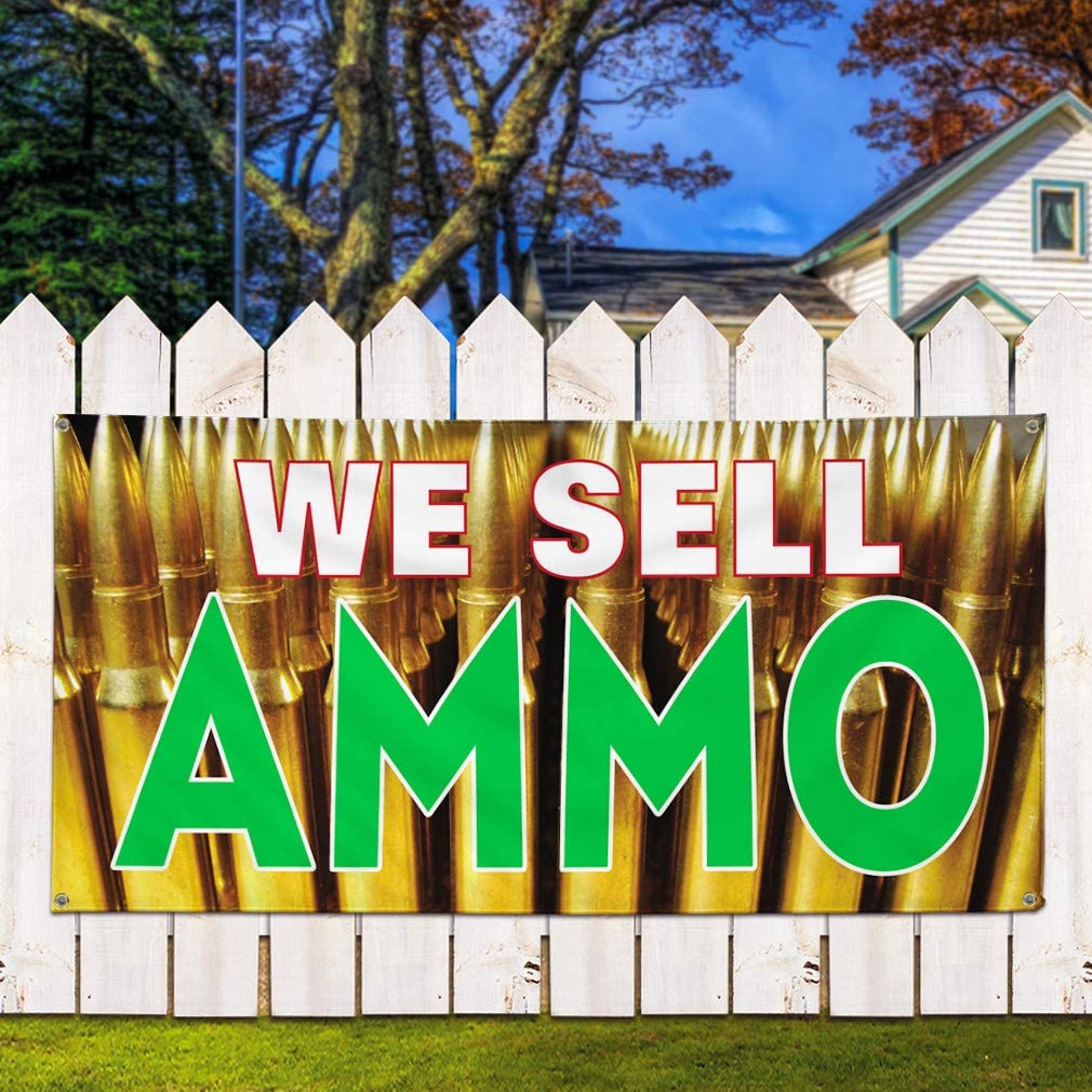 One Banner 48inx96in 8 Grommets Multiple Sizes Available Vinyl Banner Sign We Sell Ammo #1 Style A Military Ammo Marketing Advertising Yellow