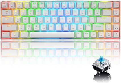 UrChoiceLtd 60% Teclado mecánico para Juegos Tipo C Cableado 68 Teclas 18 Retroiluminación RGB Teclado Impermeable USB Teclas Completas Anti-Efecto ...