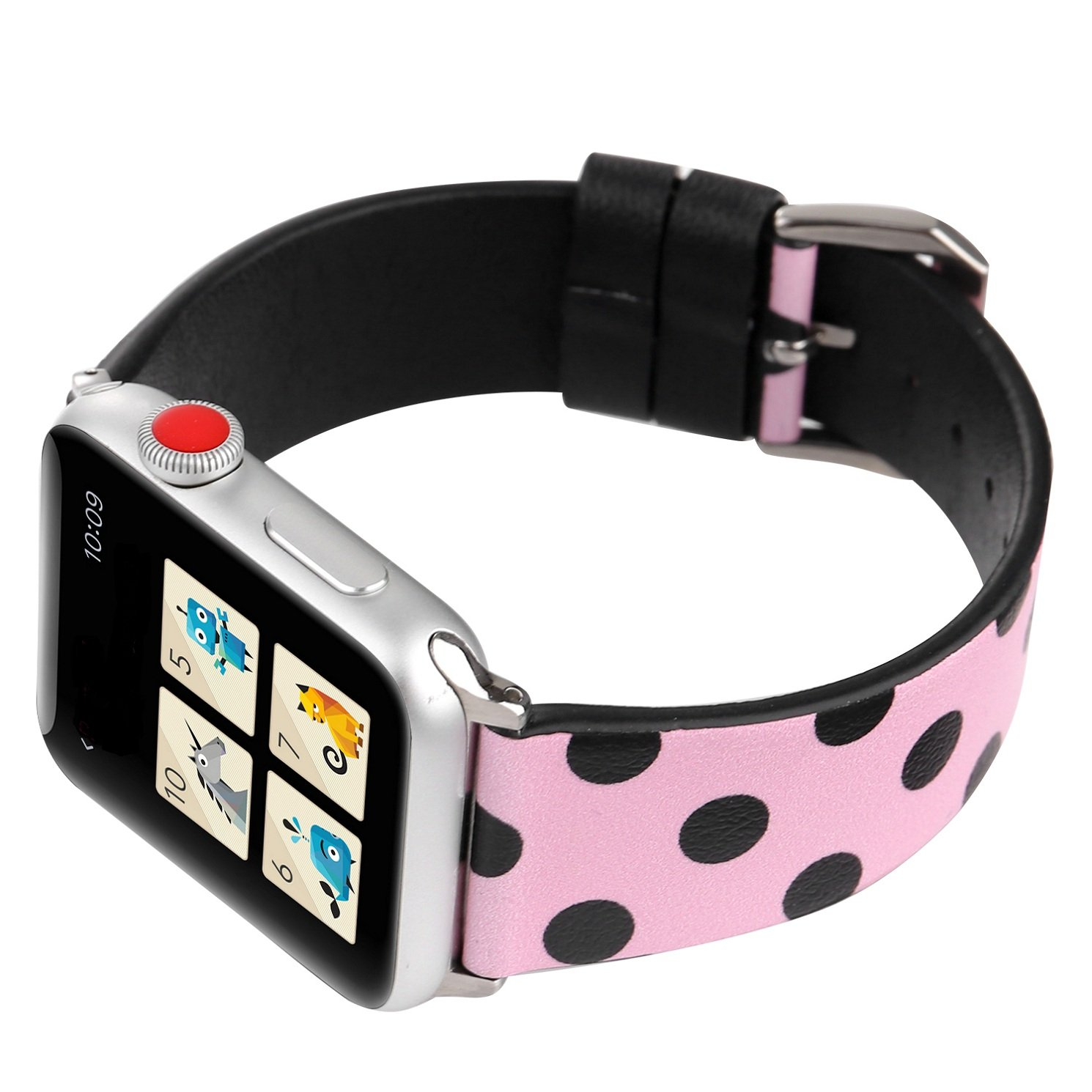 Juzzhou Band For Apple Watch iWatch Series 3/2/1 Sport Edition Leather Replacement Bracelet Wristband Wriststrap Watchband Wrist Strap With Metal Adapter Adjustable Buckle For Woman Girl Pink 38mm by Juzzhou (Image #3)