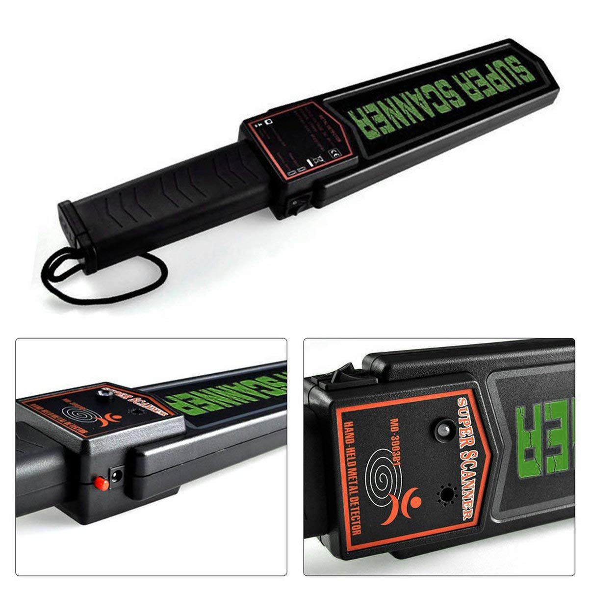 JullyeleDEgant Detector de Metales portátil Seguridad Detector de Metales de Mano Alarma y vibración MD3003B1 Super Scanner Bomb Detector de Metales: ...