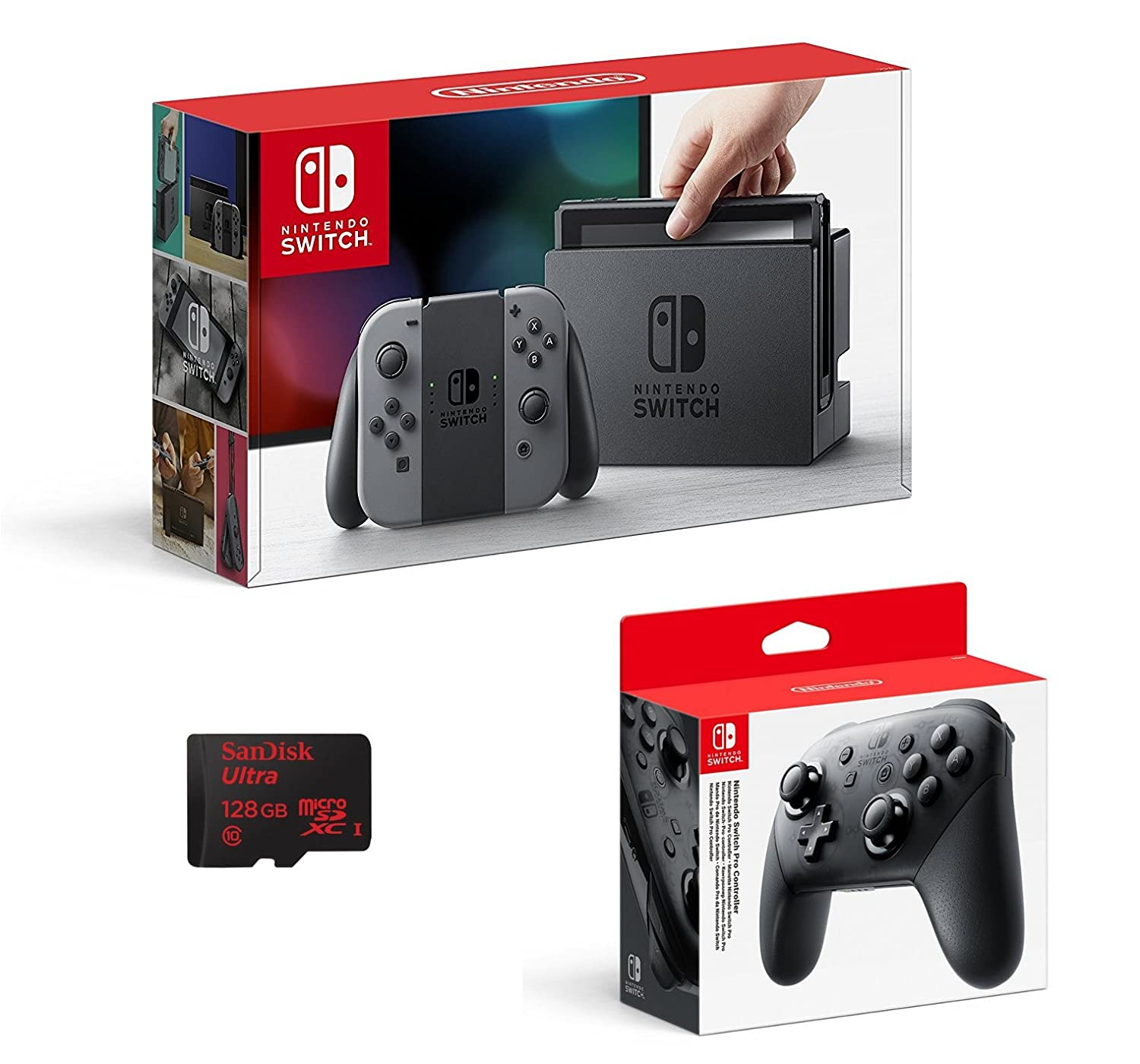 Nintendo Switch - Color Gris + Mando Pro Controller + ...