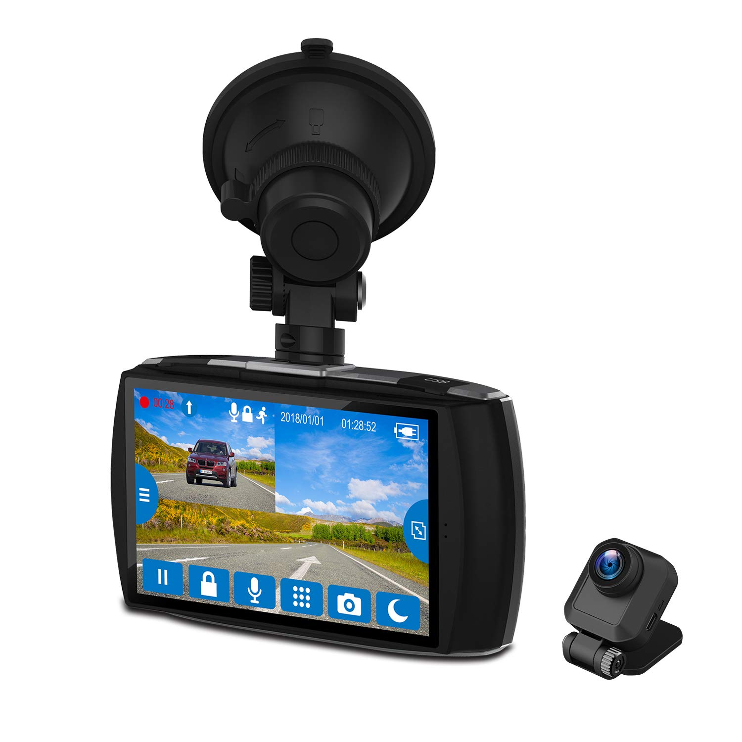 "Z-EDGE Dash Cam Front and Rear 4.0"" Touch Screen Dual Dash Cam FHD 1080P with Night Mode, 32GB Card Included,155 Degree Wide Angle, WDR, G-Sensor, Loop Recording"