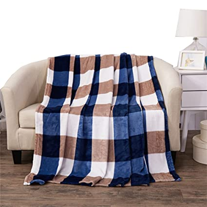 Cozzy Multicolor Plaid Big Checkers Printed Flannel Plush Fleece Bed Throws  Blanket Size 47u0026quot;x79u0026quot