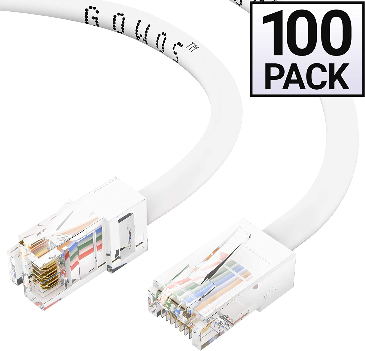 1Gigabit//Sec High Speed LAN Internet//Patch Cable GOWOS Cat5e Ethernet Cable 10-Pack - 10 Feet 24AWG Network Cable with Gold Plated RJ45 Non-Booted Connector 350MHz Yellow
