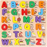 Grsafety ABC Alphabet Learning English Kids Children Wooden Peg Puzzles Early Education Toys Enlightenment Puzzle Toy
