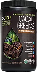 SoTru Cacao Greens, Chocolate Flavor - 8.47 oz. - Fermented Superfood Blend with Digestive Enzymes, Prebiotic Fiber & Antioxidants - USDA Certified Organic, Non-GMO, Gluten Free, Vegan - 30 Servings
