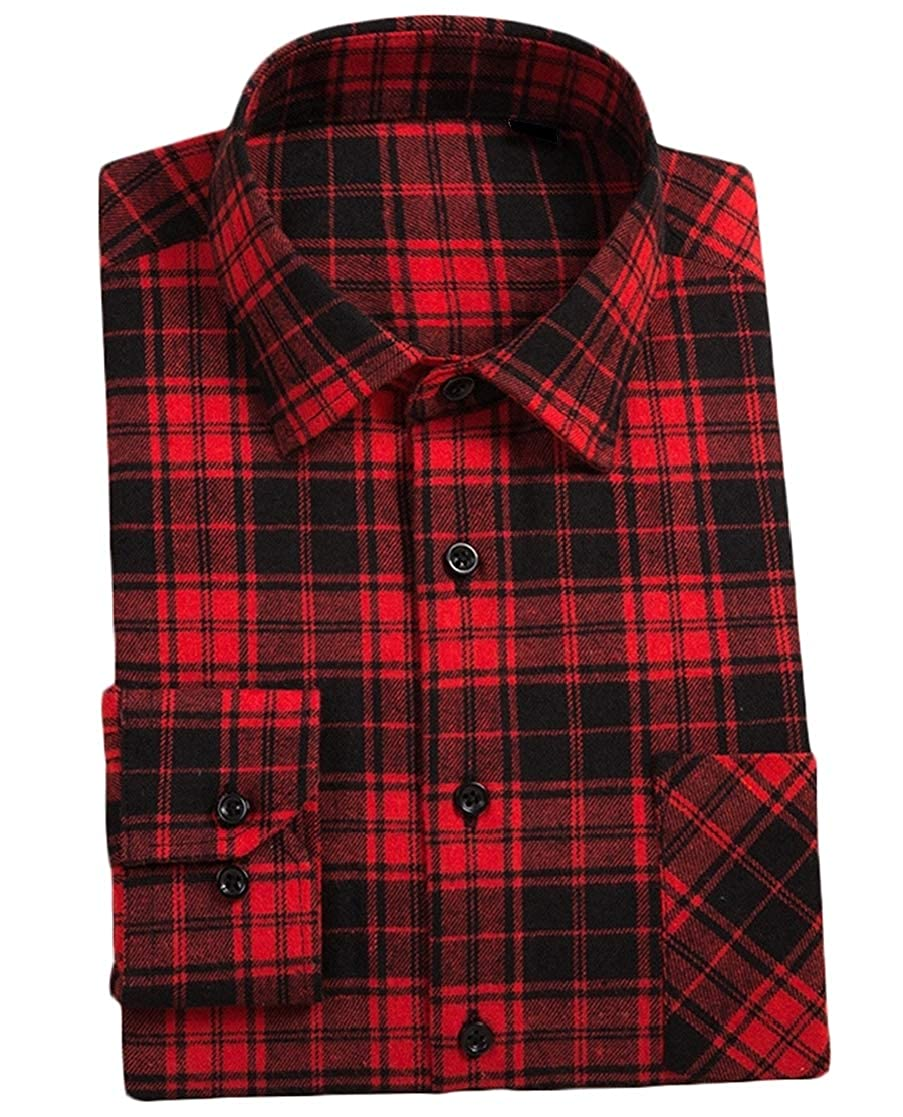 YUNY Mens Casual Long Sleeve Relaxed-Fit Plaid Pattern Square Collor Flannel Shirts AS2 3XL
