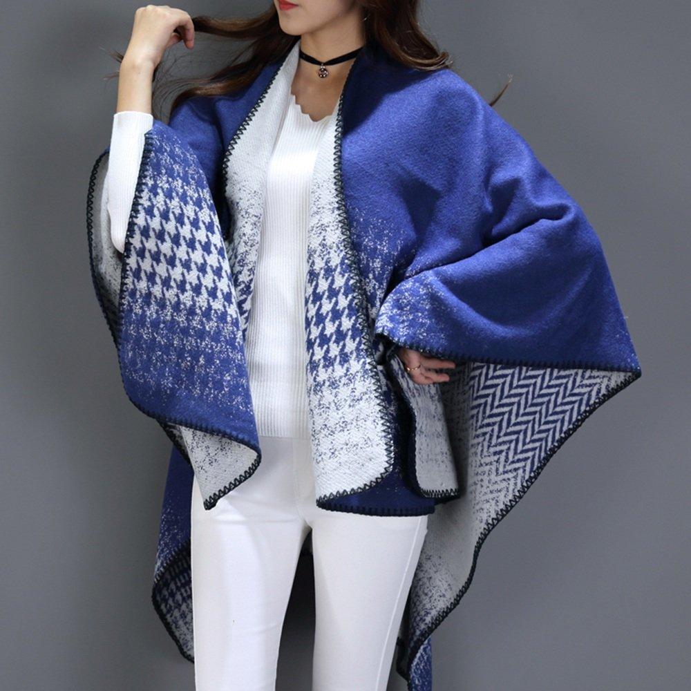 HAIZHEN alla moda alla moda Sciarpe Sciarpa Sciarpa Primavera E Autunno Giacca Calda Sovrapposizione Ovale in 7 colori sL140 * W120cm Morbido e caldo ( Colore : Blu+Bianco )