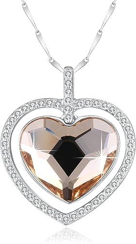 Collier Argent Coeur - Swarovski Cristal Champagne Or Double Coeur  Pendentif Collier en argent 925 46CM Chaîne Pour Femmes Bijoux Fashion  Cadeaux