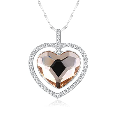 d8ad7629b PLATO H Sterling Silver Necklace Swarovski Crystal Champagne Gold Double Heart  Pendant 925 Sterling Silver 18""