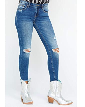 6fe11603ecb8e Miss Me Women s Five-Pocket Ankle Skinny Jeans in Medium Blue Medium Blue  25 26