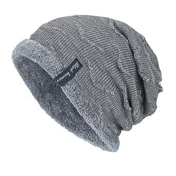 Moonuy Toute Saison Chauffant Bonnet Tricot avec Écharpe de Doublure Polaire,  Hiver Chapeau Beanie pour Homme Bonnet Slouch Beanie Respirant et Doux ... a0d70099003