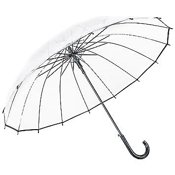 Regenschirm transparent durchsichtig Automatik Stockschirm schwarz