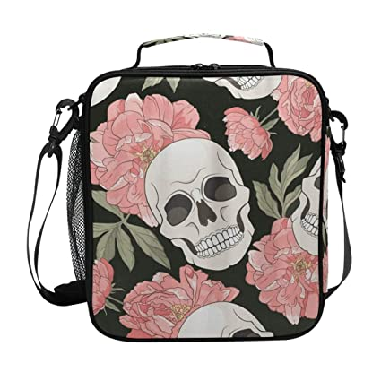 26cdbe48f1c2 Amazon.com: Gothic Floral Skulls Lunch Bag Womens Insulated Lunch ...