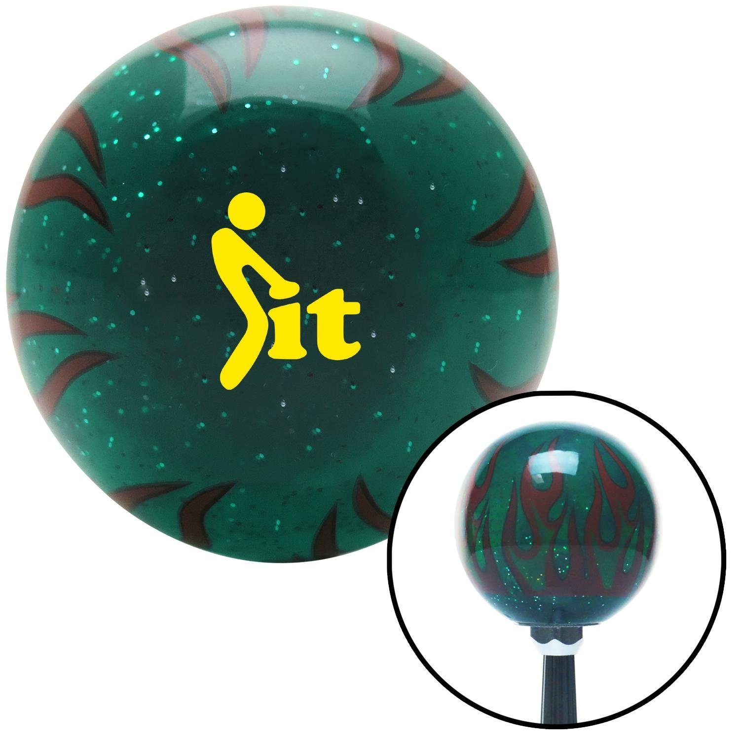 American Shifter 300523 Shift Knob Yellow FCK It Icon Green Flame Metal Flake with M16 x 1.5 Insert