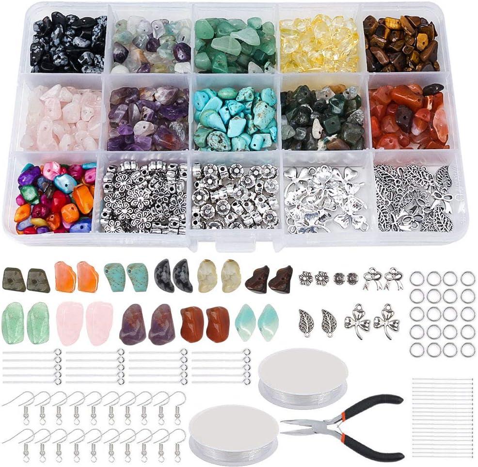 DIY Schmuck Basteln DIY Armband Halskette Schmuck Herstellung Nat/ürlicher Edelstein Basteln mit Distanzperlen Bhrhaken Biegeringe Kristalllinie f/ür die Schmuck Herstellung