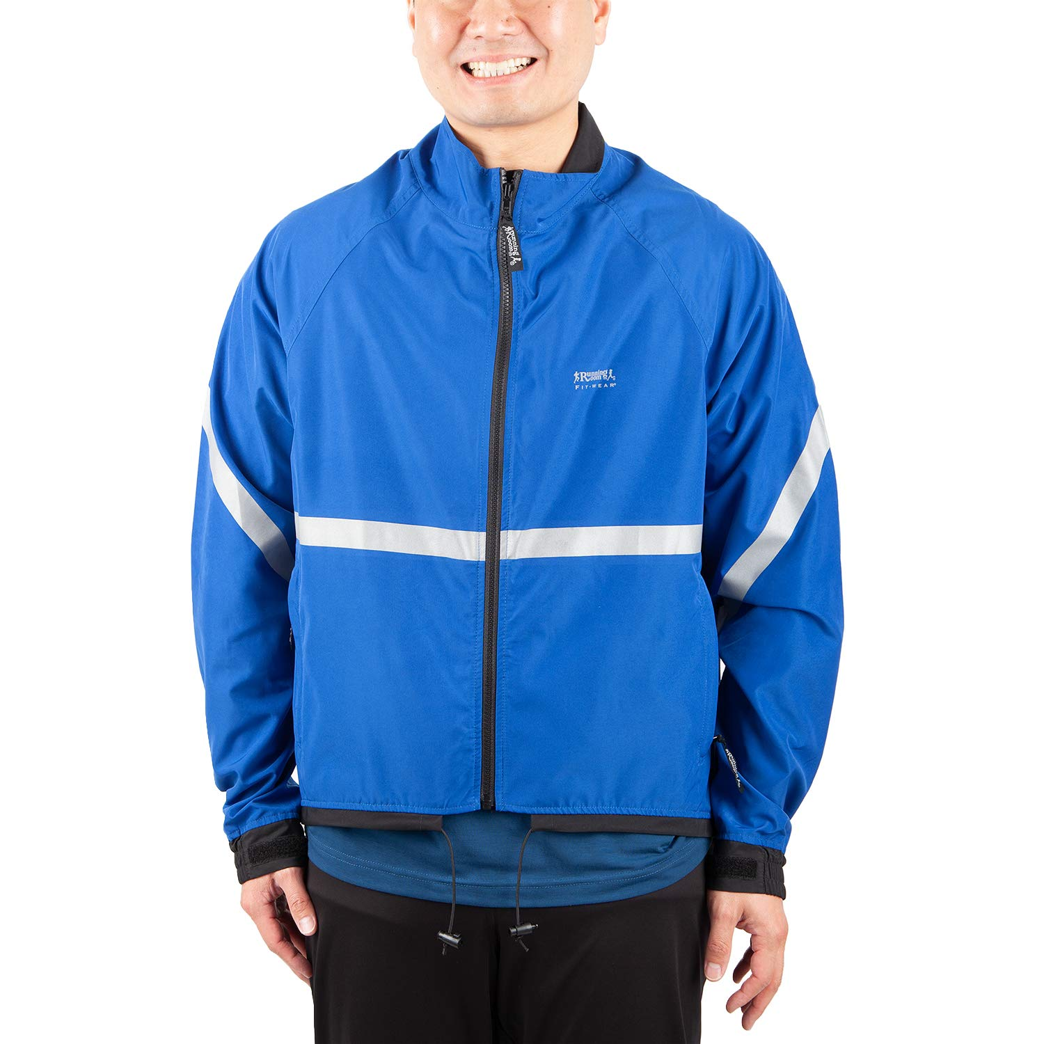 Running Room Unisex Reflective Jacket with Pockets (LRG, Royal bluee)
