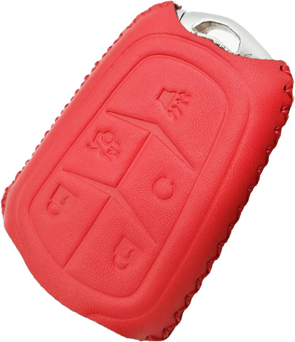 Coolbestda Leather 5 Buttons Smart Key Fob Remote Cover Protector Keyless Jacket Bag for 2018 2017 2016 Cadillac CT6 XT5 CTS XTS SRX ATS HYQ2AB HYQ2EB Red