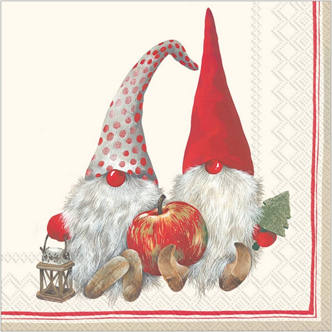 Boston International Holiday Paper Cocktail Napkins, 20-Count, Friendly Tomte - Red