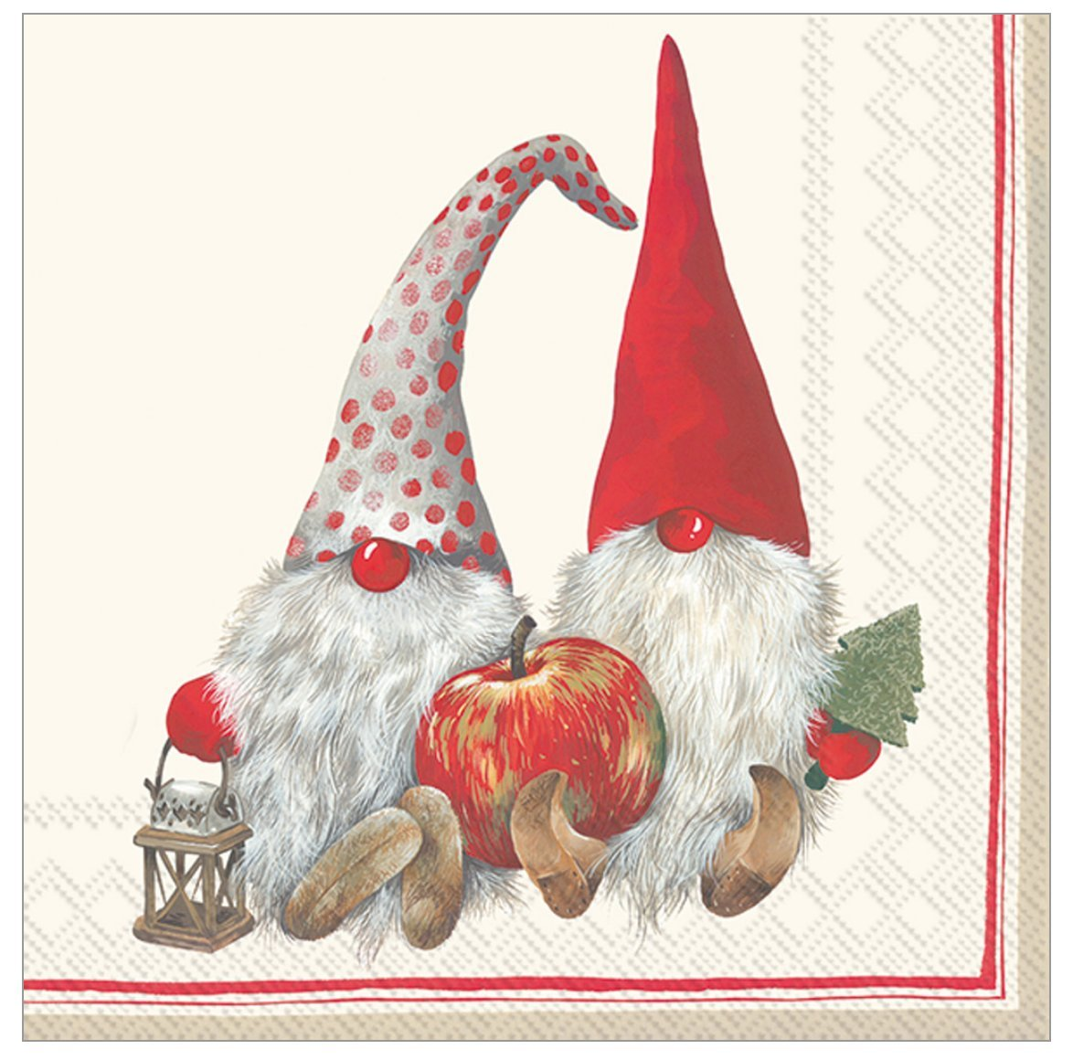 Boston International C743010 Holiday Paper Cocktail Napkins, 20-Count, Friendly Tomte-Red