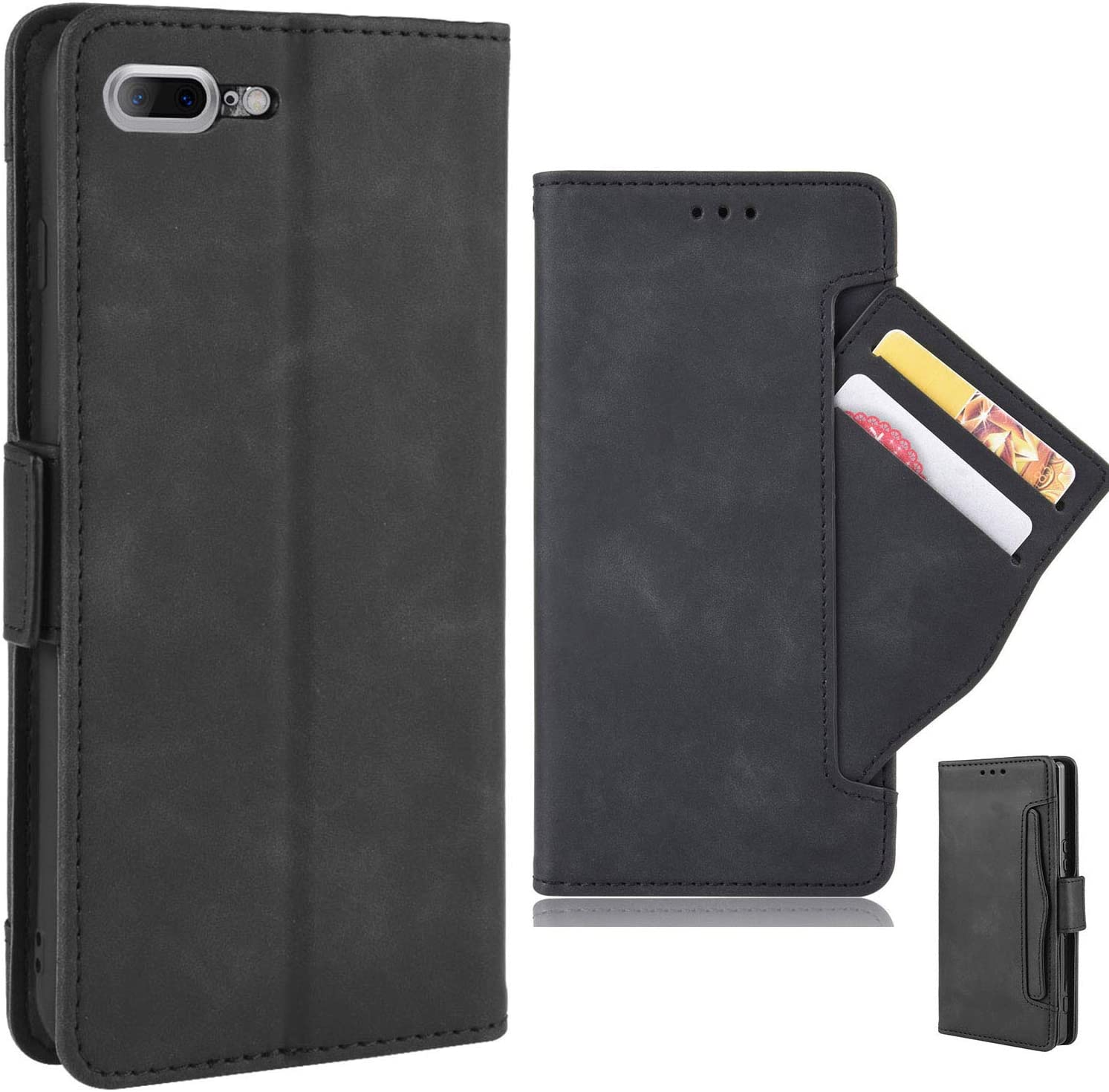 iPhone 7 8 Plus PU Leather Kickstand Wallet Phone Case, Flip Magnetic Cover with Card Slot and Removable Card Holder (5 Colors, Black)