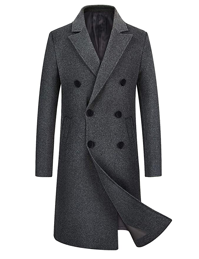 1950s Men's Clothing zeetoo Mens Wool Trench Coat Winter Slim Fit Wool Jacket Long Peacoat Overcoat $87.99 AT vintagedancer.com
