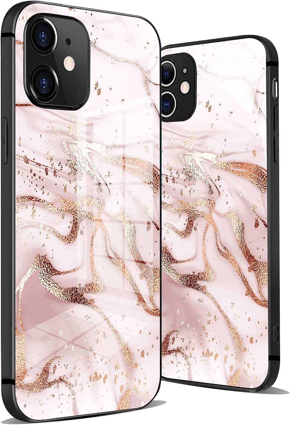 Hokafenle Rose Gold Marble iPhone 12 Mini Case for Women, Anti-Scratch Hard Glass Back with Design Print&Shockproof TPU Bumper&Anti-Slip Protect Cover for iPhone 12 Mini Case
