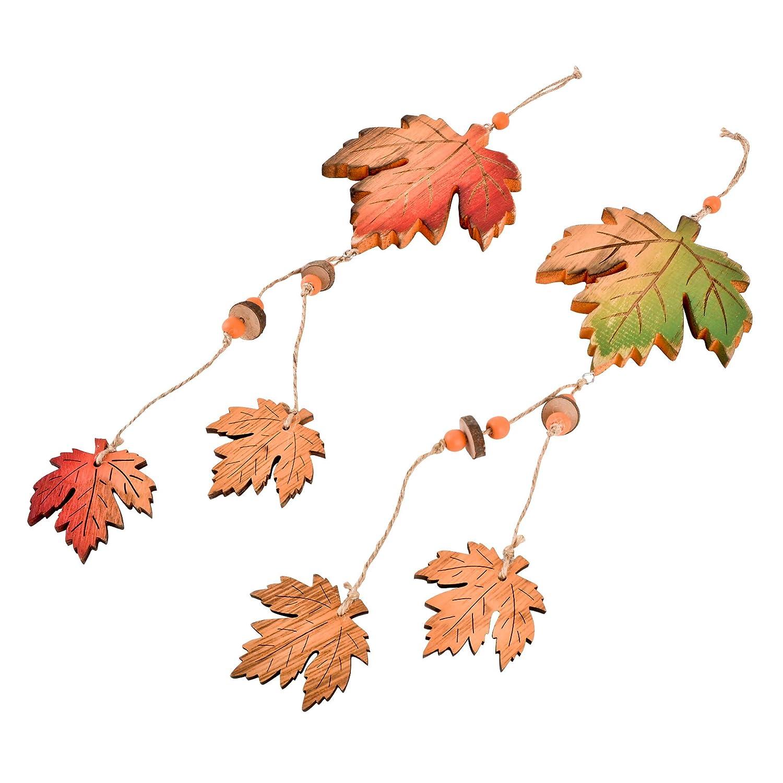 Girlande Blätter Herbst Deko Holz 100x7cm grün orange Halloween Design