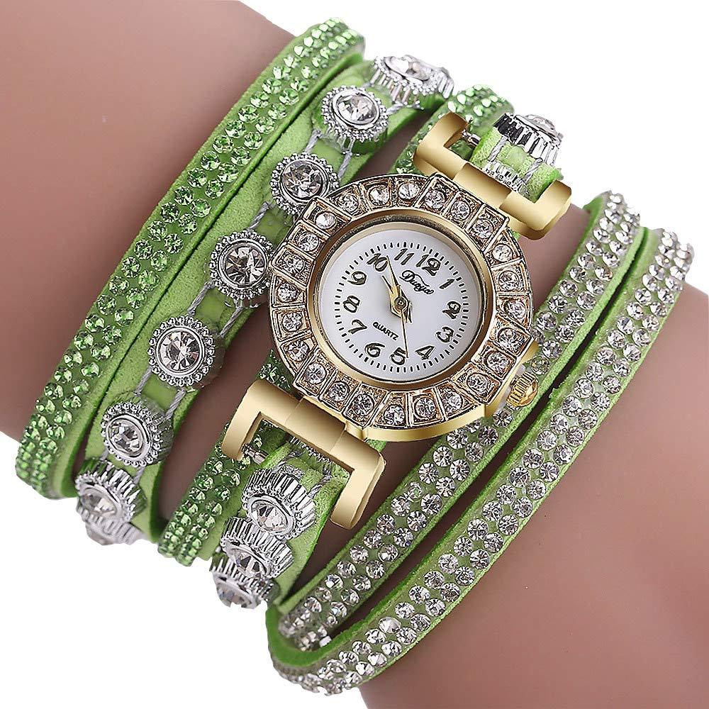 Watch for Women Prime,Women Fashion Casual Analog Quartz Women Rhinestone Watch Bracelet Watch,Men's Watches,Green,Women Watches