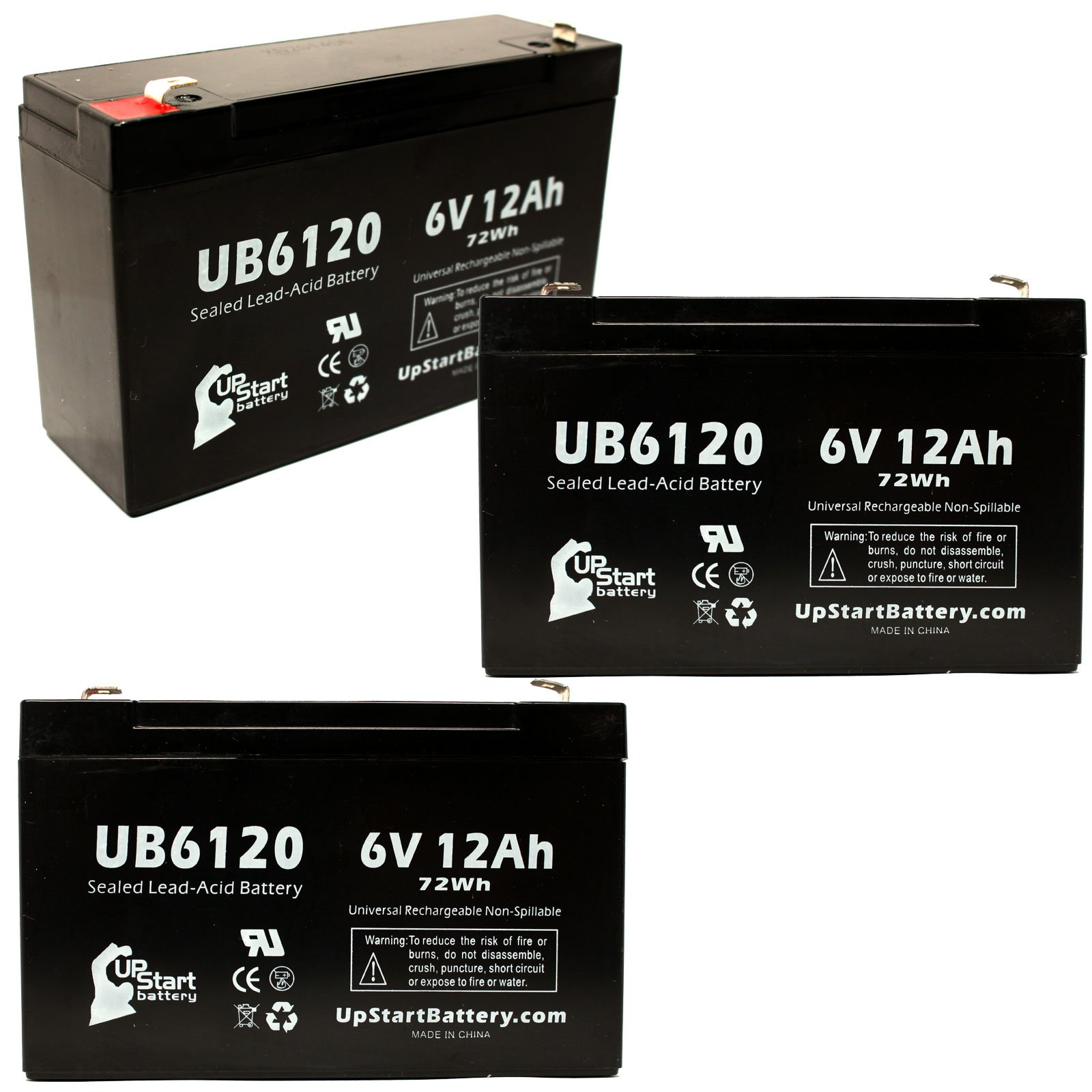 3x Pack - UB6120 Universal Sealed Lead Acid Battery Replacement (6V, 12Ah, 12000mAh, F1 Terminal, AGM, SLA) - Includes 6 F1 to F2 Terminal Adapters - Compatible with CF 8K2U, Atlite Ps6100, B&B Bp12-6 by UpStart Battery