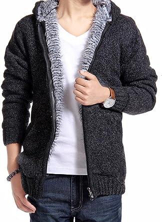 Fashion Winter Fleece Coat Mens Fur Lined Knitted Hooded Jacket Cardigan Sweater