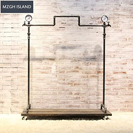 3af19a35219d Amazon.com: MZGH ISLAND Industrial Style Rolling Clothes Rack with ...